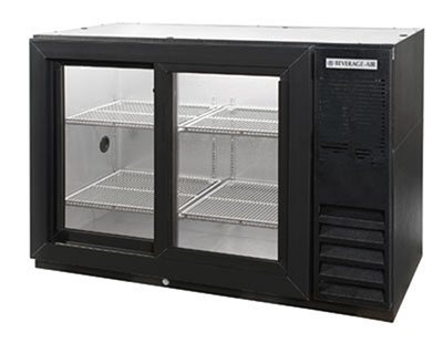 "Beverage Air BB48GSY-1-B 48"" (2) Section Bar Refrigerator - Sliding Glass Doors, 115v"