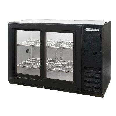 "Beverage Air BB48GSY-1-S 48"" (2) Section Bar Refrigerator - Sliding Glass Doors, 115v"