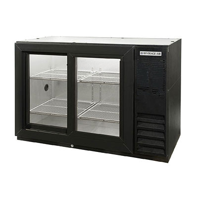 "Beverage Air BB48GSYF-1-B-27 48"" (2) Section Bar Refrigerator - Sliding Glass Doors, 115v"