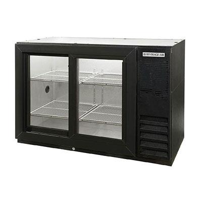 "Beverage Air BB48GSYF-1-B-PT 48"" (2) Section Bar Refrigerator - Sliding Glass Doors, 115v"