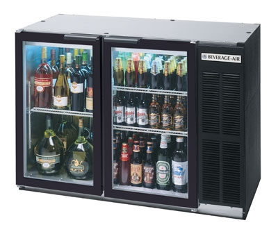 "Beverage Air BB48GY-1-B 48"" (2) Section Bar Refrigerator - Swinging Glass Doors, 115v"