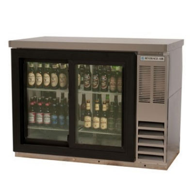 """Beverage Air BB48GY-1-S-27 48"""" (2) Section Bar Refrigerator - Swinging Glass Doors, 115v"""