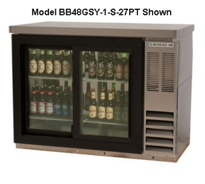 "Beverage Air BB48GY-1-S-27 48"" (2) Section Bar Refrigerator - Swinging Glass Doors, 115v"