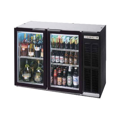 "Beverage Air BB48GY-1-S-PT 48""  (2) Section Bar Refrigerator - Swinging Glass Doors, 115v"