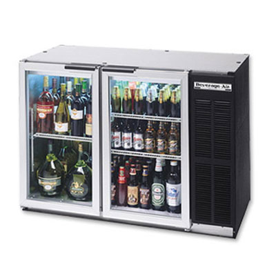 "Beverage Air BB48GYF-1-B-27 48"" (2) Section Bar Refrigerator - Swinging Glass Doors, 115v"