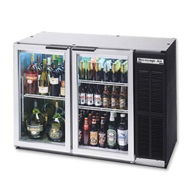 "Beverage Air BB48GYF-1-S-27 48"" (2) Section Bar Refrigerator - Swinging Glass Doors, 115v"