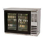 "Beverage Air BB48HC-1-GS-S 48"" (2) Section Bar Refrigerator - Sliding Glass Doors, 115v"