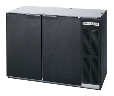 "Beverage Air BB48Y-1-B 48"" (2) Section Bar Refrigerator - Swinging Solid Doors, 115v"