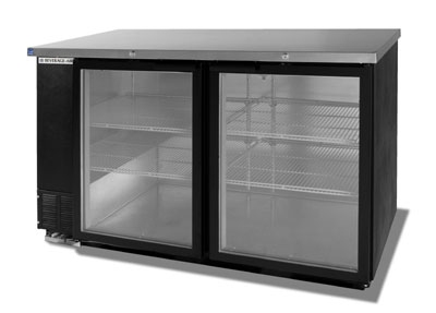 "Beverage Air BB58G-1-B 58"" (2) Section Bar Refrigerator - Swinging Glass Doors, 115v"
