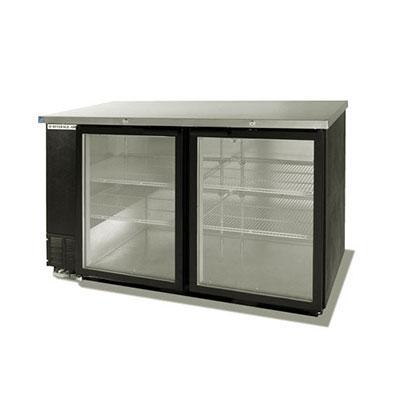 "Beverage Air BB58GF-1-S 58"" (2) Section Bar Refrigerator - Swinging Glass Doors, 115v"