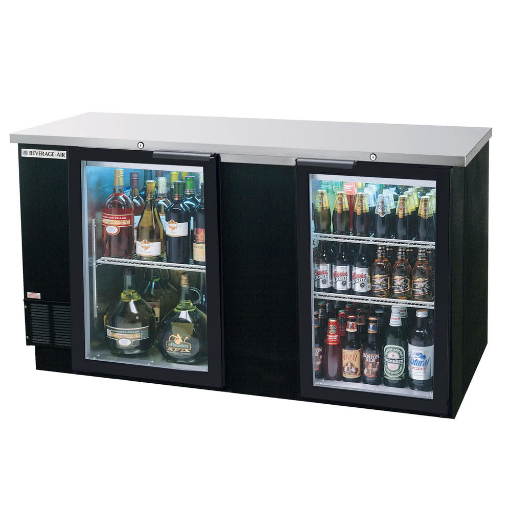 Beverage-Air BB68G-1-B 69 (2) Section Bar Refrigerator - ...
