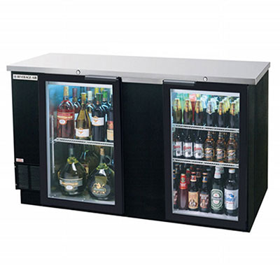 "Beverage Air BB68GF-1-B 68"" (2) Section Bar Refrigerator - Swinging Glass Doors, 115v"