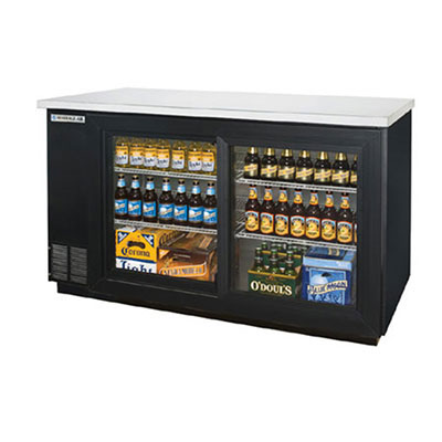 "Beverage Air BB72GSY-1-B-27 72"" (3) Section Bar Refrigerator - Sliding Glass Doors, 115v"