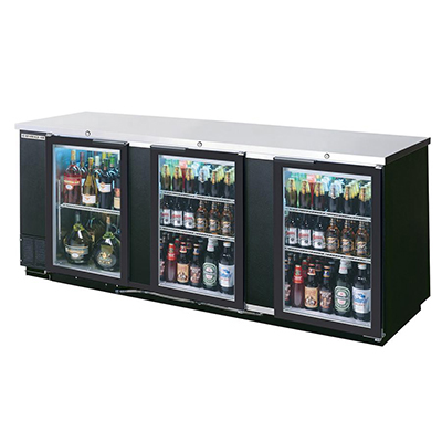 "Beverage Air BB72GSY-1-S-PT 72"" (3) Section Bar Refrigerator - Sliding Glass Doors, 115v"
