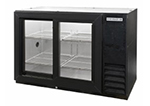 "Beverage Air BB72GSYF-1-B-27-PT 72"" (3) Section Bar Refrigerator - Sliding Glass Doors, 115v"