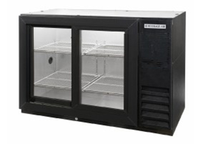 "Beverage Air BB72GSYF-1-B27-PT 72"" (3) Section Bar Refrigerator - Sliding Glass Doors, 115v"