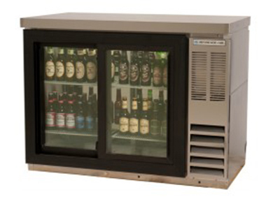 "Beverage Air BB72GSYF-1-S-PT 72"" (3) Section Bar Refrigerator - Sliding Glass Doors, 115v"