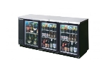 "Beverage Air BB72GY-1-S 72"" (3) Section Bar Refrigerator - Swinging Glass Doors, 115v"