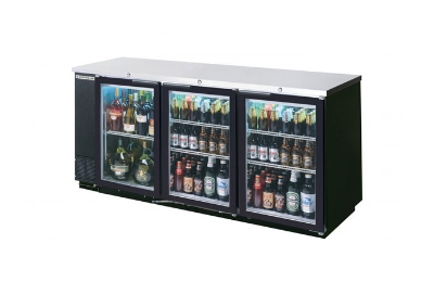 "Beverage Air BB72GY-1-B 72"" (3) Section Bar Refrigerator - Swinging Glass Doors, 115v"