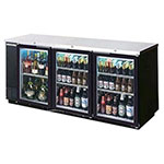 "Beverage Air BB72GYF-1-B-27 72"" (3) Section Bar Refrigerator - Swinging Glass Doors, 115v"