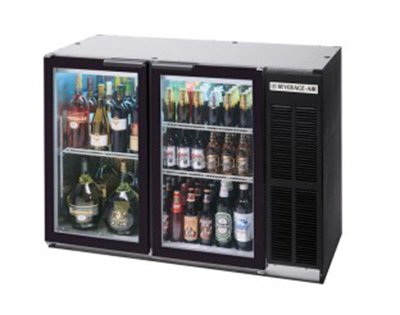 "Beverage Air BB72GYF-1-B-27-PT 72"" (3) Section Bar Refrigerator - Swinging Glass Doors, 115v"
