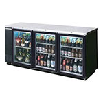 "Beverage Air BB72HC-1-G-B 72"" (3) Section Bar Refrigerator - Swinging Glass Doors, 115v"