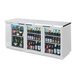 "Beverage Air BB72HC-1-GS-S 72"" (3) Section Bar Refrigerator - Sliding Glass Doors, 115v"