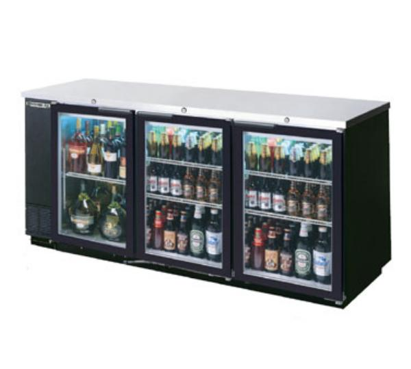 "Beverage Air BB78G-1-B 78"" (3) Section Bar Refrigerator - Swinging Glass Doors, 115v"