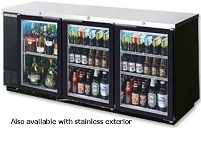 "Beverage Air BB78G-1-B-PT 78"" (3) Section Bar Refrigerator - Swinging Glass Doors, 115v"
