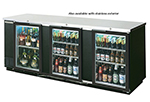 "Beverage Air BB94GF-1-S 94"" (3) Section Bar Refrigerator - Swinging Glass Doors, 115v"