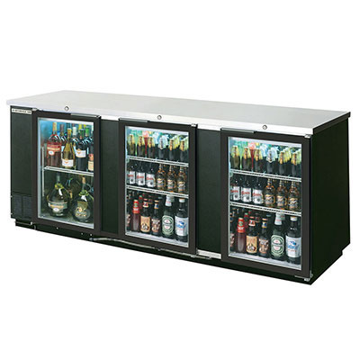 "Beverage Air BB94GF-1-B 94"" (3) Section Bar Refrigerator - Swinging Glass Doors, 115v"