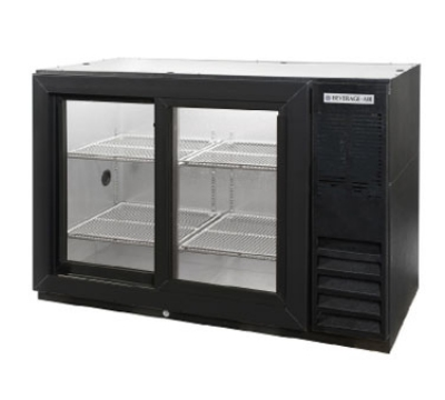 "Beverage Air BB48GSY-1-B-PT 48"" (2) Section Bar Refrigerator - Sliding Glass Doors, 115v"