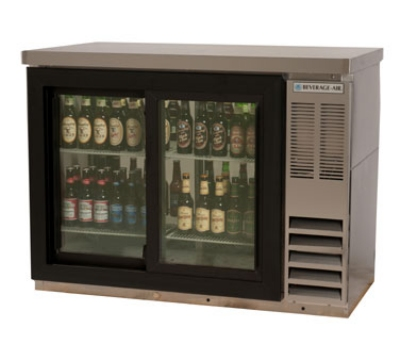 "Beverage Air BB48GSY-1-S-27 48"" (2) Section Bar Refrigerator - Sliding Glass Doors, 115v"