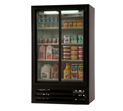 "Beverage Air LV17-1-B-LED 36"" Two-Section Glass Door Merchandiser w/ Sliding Doors, 115v"