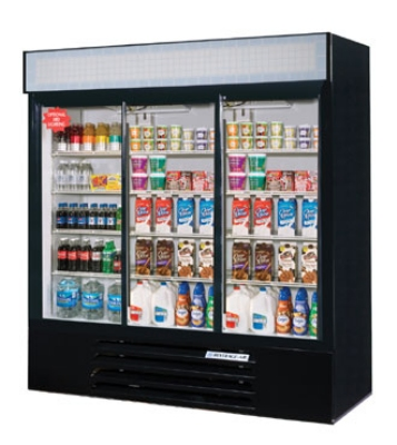 "Beverage Air LV66Y-1-B-LED 75"" Three-Section Refrigerated Display w/ Sliding Doors, Bottom Mount Compressor, 115v"