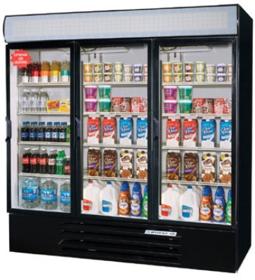 """Beverage Air LV72Y-1-B-LED 32"""" Three-Section Refrigerated Display w/ Swing Doors, Bottom Mount Compressor, 115v"""