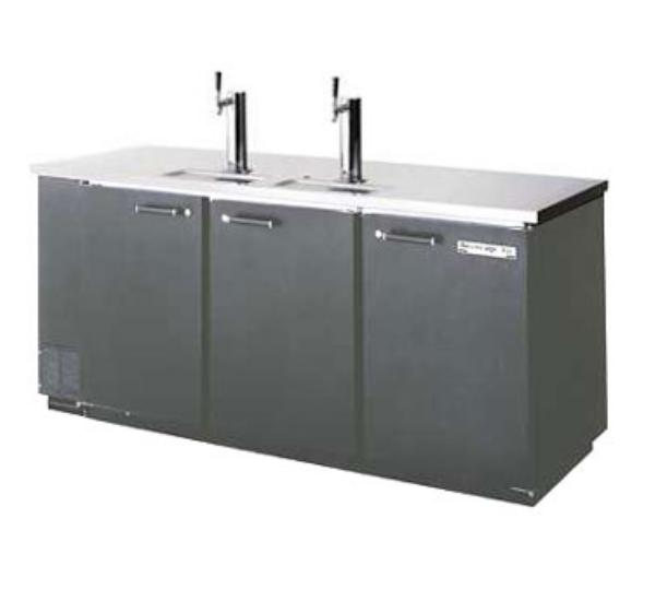 Beverage Air DD78E-1-B 92.5 in Draft Beer Cooler 4 Keg 2 Faucets Black SS Top External Compressor Restaurant Supply