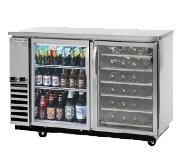 "Beverage Air DZ58G-1-B-PWD-1 59"" Swinging Glass Door Bar Refrigerator w/ Solid Keg Drawer, Wine Drawers, Black, 115v"