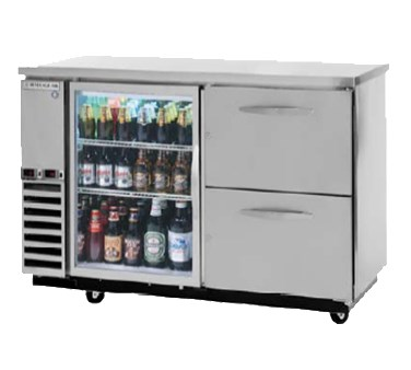 "Beverage Air DZ58G-1-S-1 59"" Swinging Glass Door Bar Refrigerator w/ (1) Solid Drawer, Stainless, 115v"