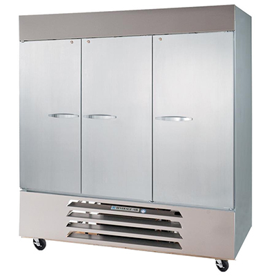 """Beverage Air HBR72-1-S 75"""" Three Section Reach-In Refrigerator, (3) Solid Door 115v"""
