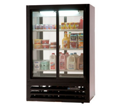 "Beverage Air LV17-1-B-54-HD-LED 36"" Two-Section Glass Door Merchandiser w/ Swing Doors, Black, 115v"