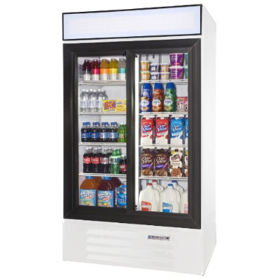"Beverage Air LV38-1-W-LED 44"" Two-Section Glass Door Merchandiser w/ Sliding Doors, 115v"