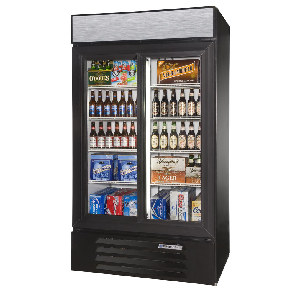 beverage air lv38hc 1 b 435 two section glass door merchandiser w sliding doors 115v