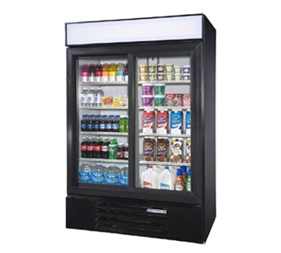 "Beverage Air LV45-1-B-LED 52"" Two-Section Glass Door Merchandiser w/ Sliding Doors, 115v"
