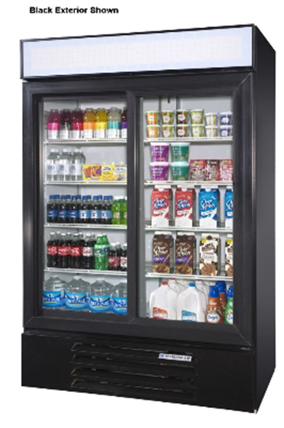 "Beverage Air LV45-1-W-LED 52"" Two-Section Glass Door Merchandiser w/ Sliding Doors, 115v"