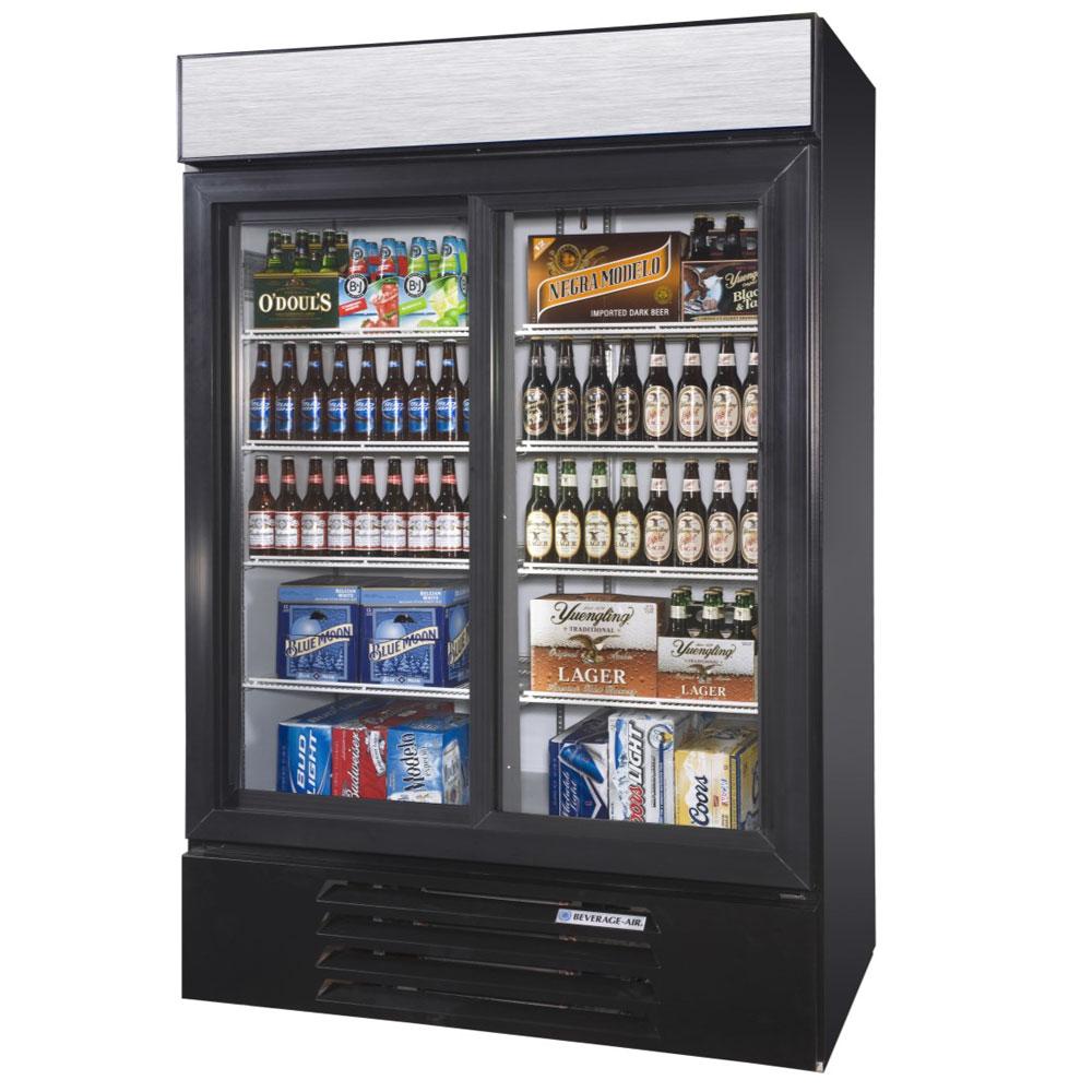 """Beverage Air LV45HC-1-B 52"""" Two-Section Glass Door Merchandiser w/ Sliding Doors, 115v"""