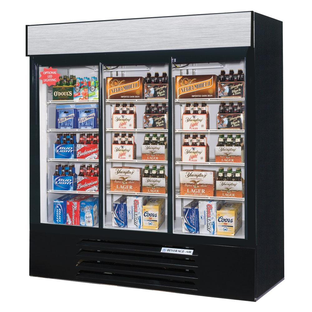 "Beverage Air LV66HC-1-B 75"" Three-Section Glass Door Merchandiser w/ Sliding Doors, 115v"