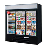 "Beverage Air LV66Y-1-B-LED 75"" Three-Section Glass Door Merchandiser w/ Sliding Doors, 115v"