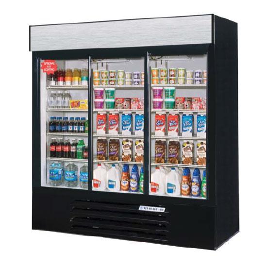 "Beverage Air LV72HC-1-B 75"" Three-Section Glass Door Merchandiser w/ Swing Doors, 115v"