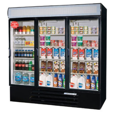 "Beverage Air LV72Y-1-B-LED 75"" Three-Section Refrigerated Display w/ Swing Doors, Bottom Mount Compressor, 115v"